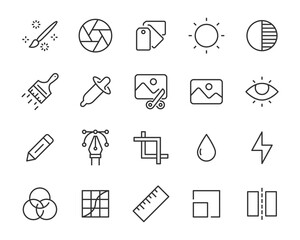 set of image editing icons, photo, picture, gallery