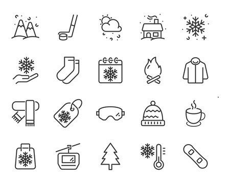 set of winter icons, snow, ski, christmas, cold, season