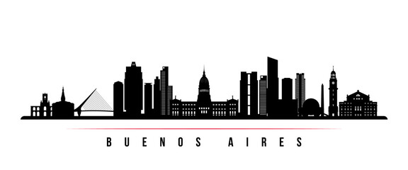 Buenos Aires skyline horizontal banner. Black and white silhouette of Buenos Aires, Argentina. Vector template for your design. Papier Peint