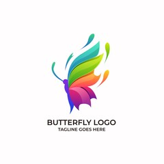 Butterfly Full Color Design concept Illustration Vector Template. this logo symbolize, some thing beautiful, soft, calm, nature, metamorphosis, graceful, and elegant.