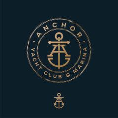 A monogram. Anchor logotype. Logo of yacht club, maritime emblem. Crossed letter A and anchor into rope circles.