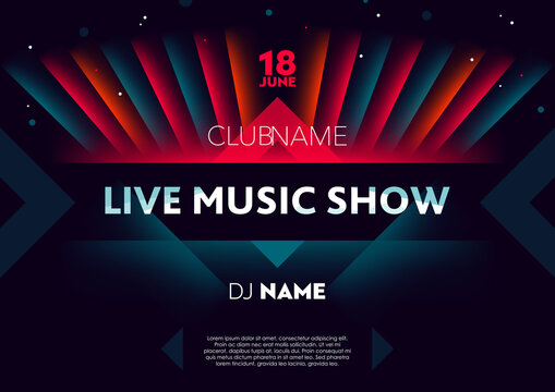 Horizontal live music show poster with bright color graphic elements, dark background and text.