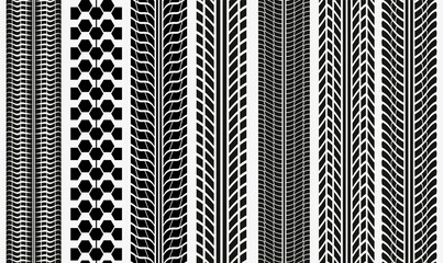 Collection textures of vector tire tracks, tire marks, tire tread Vector illustration