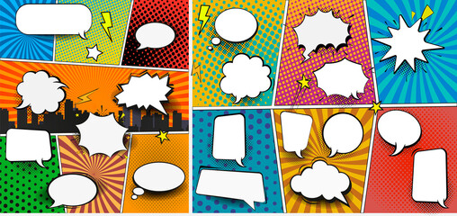 Fototapete - Colorful comic book background with blank white speech bubbles of different shapes in pop-art style. Rays, radial, halftone, dotted effects. Vector illustration