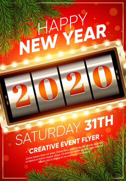 Xmas and New 2020 Year party club flyer. Slot machine with 2020 numbers. Eps10 vector template.