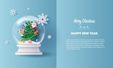 Paper art style of Santa Claus and friends, reindeer, bear and penguin in Christmas globe, Merry Christmas and Happy New Year concept.