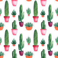 seamless pattern of watercolor green cacti, succulents, haworthia on a white background, hand-drawing, greeting card