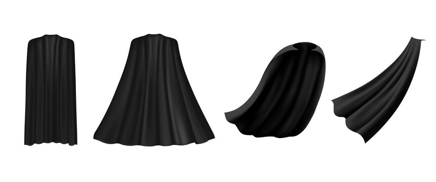 Superhero black cape in different positions, front, side and back view on white background. Costume party clothing, masquerade.