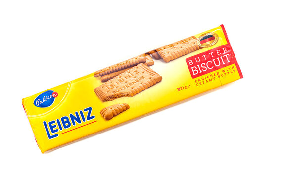 BERLIN - NOV 02: Leibniz Butter Biscuits Coocie isolated on white Background in Berlin on November 02. 2019 in Germany.  The Leibniz-Keks or Choco Leibniz is a German brand of biscuit product.