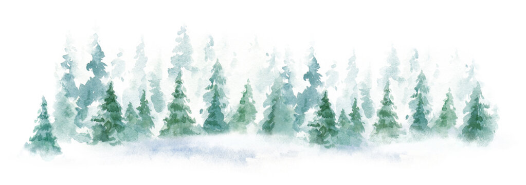 Landscape of foggy evergreens forest, winter hill. Wild nature, frozen, misty, taiga. watercolor background