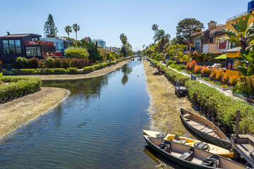 Venice Canal Historic District. Venice Canals in Southern California in Los Angeles. United States