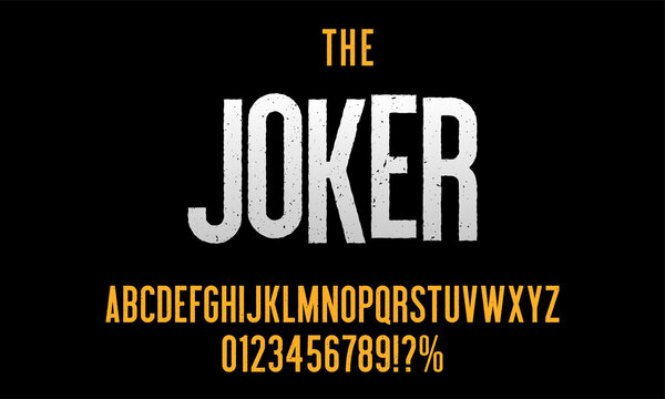 Modern condensed font with grunge effect for poster design. Vector alphabet and numbers