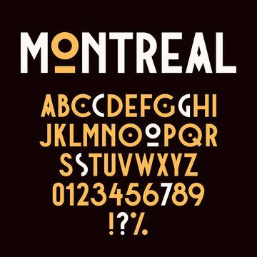 Vintage retro font. Modern art deco font. Set of letters, numbers and symbols. Vector