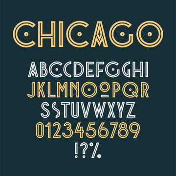 Vintage art deco retro font. Set of letters, numbers and symbols. Vector
