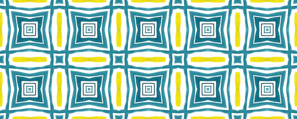 Antique portuguese tiles. Blue and yellow Azulejos ceramic. Spanish pottery..Sicily italian majolica. Vintage ethnic background . Mediterranean watercolor seamless wallpaper. Moroccan ornaments .
