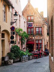 Fotorolgordijn Brugge Old street of the historic city center of Bruges (Brugge), West Flanders province, Belgium. Cityscape of Bruges.