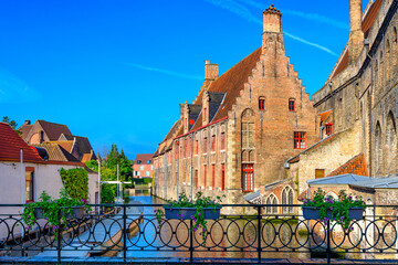 Poster Bridges Classic view of the historic city center of Bruges (Brugge), West Flanders province, Belgium. Cityscape of Bruges with canal.