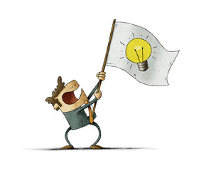Man waves a flag with the symbol of a light bulb. Idea concept. isolated