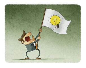 Man waves a flag with the symbol of a light bulb. Idea concept
