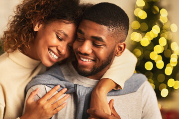 Couple in love spending christmas eve together