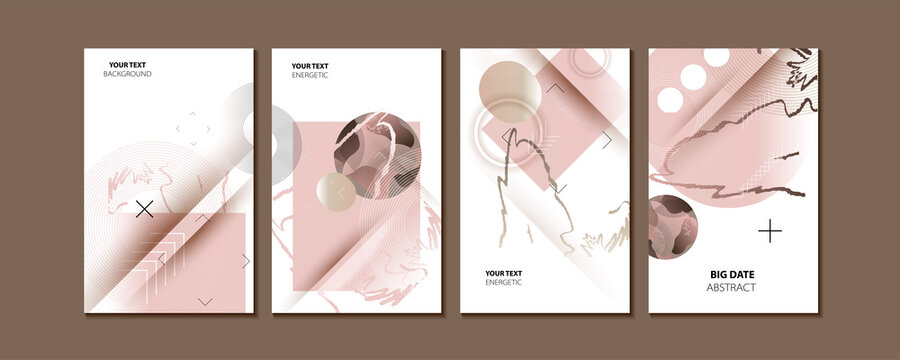 Elegant natural pastel muted pale calm tones card templates set abstraction background