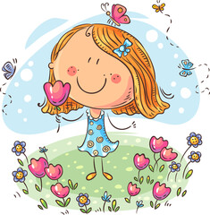 Fototapete - Cartoon girl with flowers, can be used as a greeting card