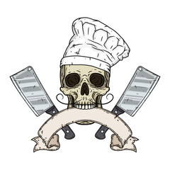 Skull in toque with two cleavers and vintage scroll. Cartoon skull in hand drawn style.