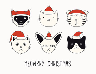 Printed kitchen splashbacks Illustrations Hand drawn card, banner with cute cats faces in Santa Claus hats, text Meowrry Christmas. Vector illustration. Line drawing. Isolated objects on white background. Design concept holiday print, invite.