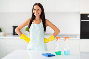 Professional maid concept, Portrait of positive housewife wearing yellow latex gloves having effective sprays detergent finish chores in kitchen house apartment