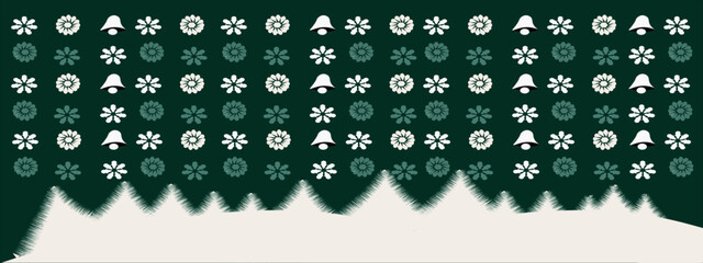Christmas art patterns with snow and trees