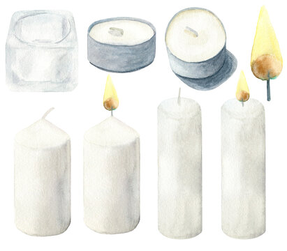 Watercolor light candles with flame and glass candlestick set. Hand drawn traditional elements of home decoration, cosiness, celebration. Clipart isolated on white background