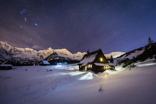 Night star photography of Tatra Mountains in Winter season