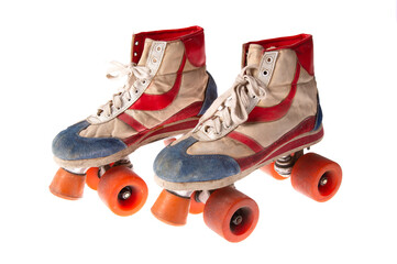 Vintage roller skates isolated on a white background