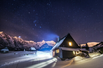 Night star photography of Tatra Mountains in Winter season