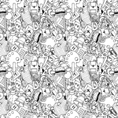 seamless pattern with a picture of school supplies, a linear drawing