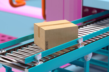 Working conveyor roller with blank cardboard box at factory in Pink and blue pastel colors. 3d rendering.