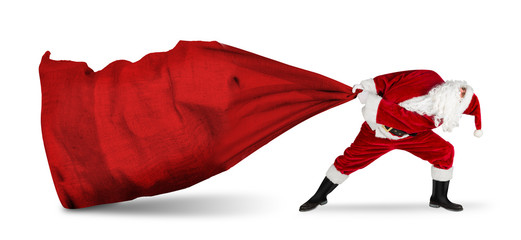 classic traditional crazy funny santa claus on exhausting delivery service. towing huge giant big red bag with christmas gift present  isolated  white background