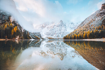 Wall Mural - Calm alpine lake Braies. Location Dolomiti, Italian Alps, Europe.