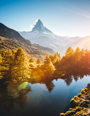 Wall Mural - Amazing evening view of Matterhorn. Location Grindjisee lake, Cervino peak, Swiss alps, Europe.