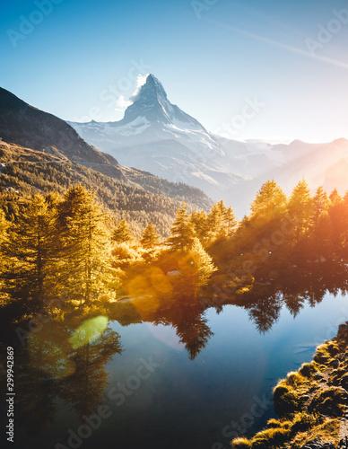 壁紙(ウォールミューラル) Amazing evening view of Matterhorn. Location Grindjisee lake, Cervino peak, Swiss alps, Europe.