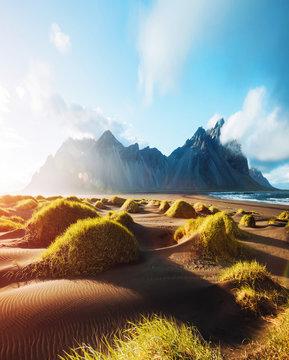Majestic landscape on sunny day. Location Stokksnes cape, Vestrahorn (Batman Mount), Iceland.