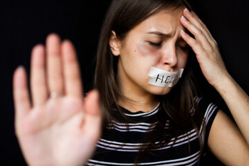 Young woman asks to stop violence against herself