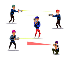 Laser tag gamers illustrations set