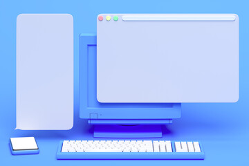 Obraz Blue PC with blank screen near blue mobile phone with blank screen. Speech Text bubbles above gadgets, 3d rendering - fototapety do salonu