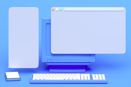 Blue PC with blank screen near blue mobile phone with blank screen. Speech Text bubbles above gadgets, 3d rendering