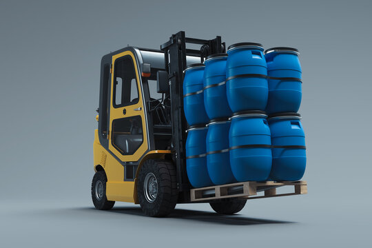 Realistic forklift lifting blue barrels isolated on gray background. 3d rendering.