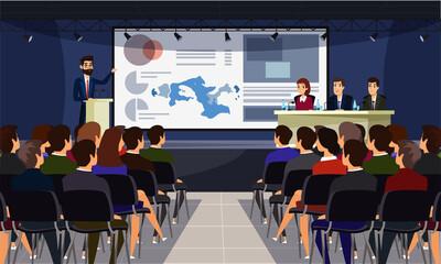 Fototapeta Business conference flat vector illustration obraz