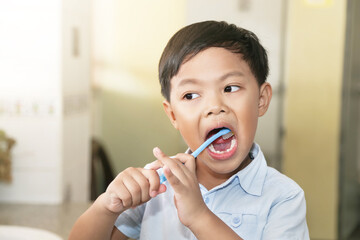 An Asian young boy brushing his teeth. Wall mural