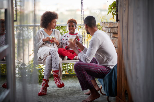 Cheerful Christmas morning.family enjoy in the  morning together.
