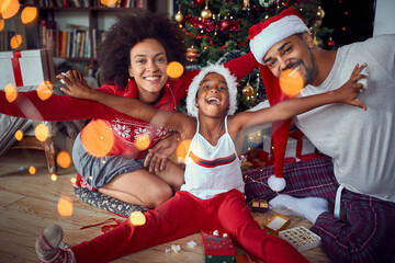 Funny  Christmas. family have fun together at Christmas morning